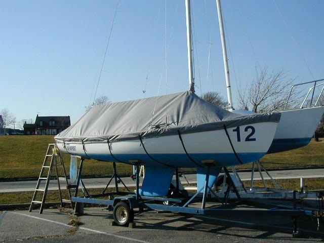 Finn Sailboat Boat Deck Cover Blue Polyester