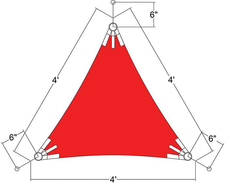 Sunbrella Triangle Sun Shade Sail 4'x4'x4'